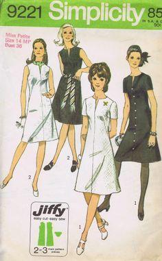 "Sheath Dress 1970s SEWING PATTERN 9221 SIMPLICITY SIZE 14 MP BUST 36 HIP 38"" CUT"