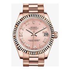 Rolex Lady-Datejust 31 Pink Dial 18K Everose Gold President Automatic... ($22,893) ❤ liked on Polyvore featuring jewelry, watches, rose gold tone watches, 18k gold jewelry, gold crown, roman numeral watches and 18 karat gold watches