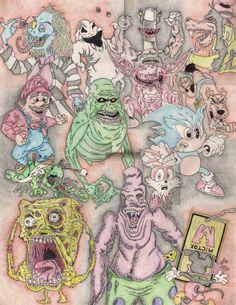 Halloween Evil Cartoon Collage:  Mario Beetlejuice Slimer from Ghostbusters SpongeBob SquarePants Mickey Mouse Aaahhh Real Monsters