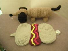 Crochet Dachshund in a Hot Dog Bun Pattern  This is a PDF pattern only-instant download on Etsy, $3.95