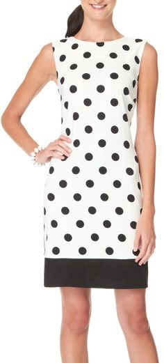 3dbc7ed23c This AGB dress provides a sophisticated look along with a classic polka dot  print   solid black at the hemline.