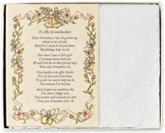 Poetry Hankie for Grandmother from Bride Wedding Handkerchief