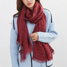 Fashionable Solid Color Thin Stripes Pattern Tassel Scarf For Women