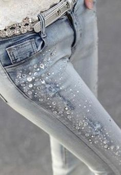 Bling Bling Bejeweled Blue Skinny Jeans from southlanecherry