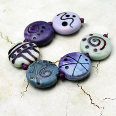 Lampwork Glass Bead Set Etched Matte by StoneDesignsbySheila, $36.00
