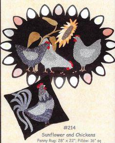 Wool Applique Pattern, Sunflower and Chicken, Penny Rug, Pillow, Primitive Decor, Farmhouse Decor, Bonnie Sullivan PATTERN ONLY