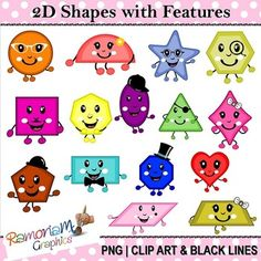 This set contains Geometric Shapes with faces and limbs. Each image is PNG and in Black & White, colored with colored outlines and colored with black outlines Kindergarten Clipart, 2d Shapes Kindergarten, Geometric Decor, Geometric Shapes, Shape Chart, Shape Pictures, Creative Teaching, Elementary Math, Classroom Themes
