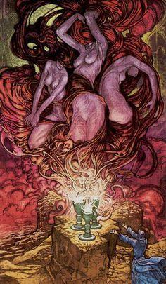 3 de coupes - Universal Fantasy Tarot par Paolo Martinello