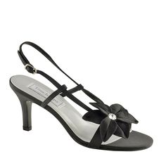 This elegant shoe features a floral accent and rhinestone accents for added visual interest. The ankle strap is adjustable for a secure fit, and the heel provides added height. Dyeable Shoes, Satin Shoes, Strappy Shoes, Prom Shoes, Wedding Shoes, Cute Black Heels, How To Dye Shoes, Special Occasion Shoes, Bridal Heels