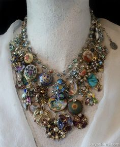 Kay Adams. Upcycled vintage jewelry - Very different but I love the boldness of it! #VintageJewelry