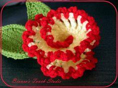 Vanilla and Cherry Flower. CROCHET PATTERN. Applique, Brooch, Clipie, Embelishments..