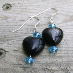 Silver Sheen Obsidian Hearts with Apatite by MoonlightAndFire, $13.00