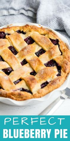 The Perfect Blueberry Pie recipe uses a homemade pie crust and fresh blueberries. You'll love this classic pie recipe! #thestayathomechef #blueberrypierecipe