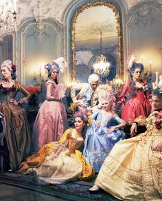 Costumes and actors from Marie Antoinette (2006) Directed by Sofia Coppola. 18th Century Style.