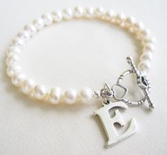 Personalized White Fresh Water Pearl Braclet with by TopsailWinds, $52.00
