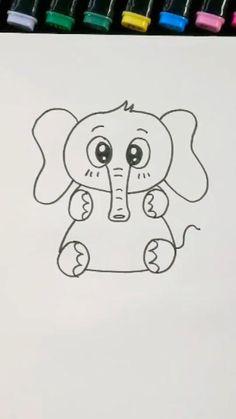 Easy Pencil Drawings, Easy Disney Drawings, Easy Doodles Drawings, Easy Drawings For Kids, Cute Little Drawings, Cute Cartoon Drawings, Art Drawings Sketches Simple, Cute Easy Doodles, Drawing Lessons