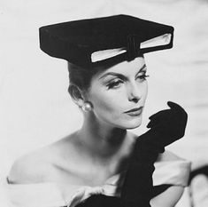 Anne Saint-Marie - 1955 - Hat by Givenchy - Photo by Henry Clarke (American, 1918-1996) -.© Condé Nast Archive/Corbis - @~ Watsonette