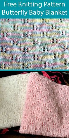 Easy Blanket Knitting Patterns, Easy Knit Baby Blanket, Free Baby Blanket Patterns, Knitted Baby Blankets, Knitting Stitches, Free Knitting, Start Knitting, Couture, Butterflies