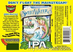 Here's the bottle packaging for SweetWater Whiplash White IPA. This beer uses Belgian yeast and American hops and it is part of t. Craft Beer Brands, Best Craft Beers, Beer Store, Bottle Packaging, American Crafts, Happy Endings, Ipa, Old Things, Ale