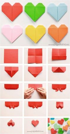 Origami paper hearts — can be used as bookmarks, love notes, package decoration, strung together in a chain…many creative option! (Instructions are in Spanish) - balconydecoration. how to make origami paper heart san valentin step by step diy Easy ori Origami Simple, Easy Origami For Kids, Instruções Origami, Origami Bookmark, Origami Butterfly, Useful Origami, Paper Crafts Origami, Origami Flowers, Origami Hearts
