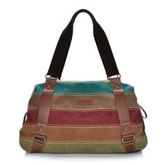 Vere Gloria Women s Canvas Leather Shoulder Handbag Bags Color Block Striped  Tote for Travel  Handbags f525a705ac360