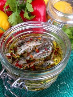 Calabrian Olive Oil Marinated and Pickled Anchovy with Peperoncino and Parsley / Alici Marinate Italian Dishes, Italian Recipes, Fish Recipes, Seafood Recipes, Fish Pasta, Pesto Dip, Italian Appetizers, Healthy Grains, Italy Food