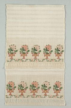 Turkey, 19th century, embroidery: silk thread and tinsel pushed through fabric, bent and pressed into place, on linen tabby ground, Average: 128.9 x 49.8 cm (50 3/4 x 19 5/8 in). Harold North Fowler Collection 1956.683