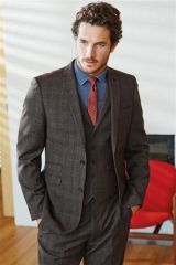 Brown Check Slim Fit Suit