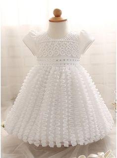 Ball Gown Tea-length Flower Girl Dress - Cotton Blends Short Sleeves Scoop Neck