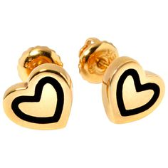 Hillier Ceramic Doodle Heart Stud Earrings ($430) ❤ liked on Polyvore