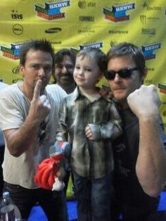 The Saints, Rocco (!) AND a child.I cannot handle the cuteness Sean Patrick Flanery, Say More, Norman Reedus, Saints, Actors, Celebrities, Fictional Characters, Handle, Child