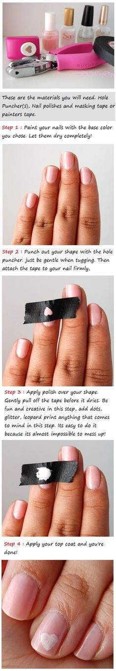 Omg...Freaking Genius! A neat way to stenil on a simple design onto nails.  You can get the craft punch at a craft store!  Punch out the shape into a low adhesive piece of tape. Next lay tape with shape cut out over desired nail...brush over shape in color polish you wish. Let dry and gently lift tape!