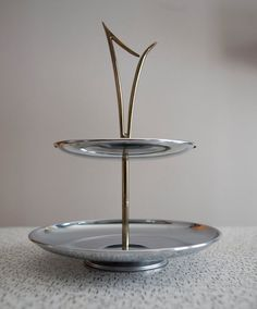 mid century modern serving platter two tier tray retro stainless steel brass kromex double tiered