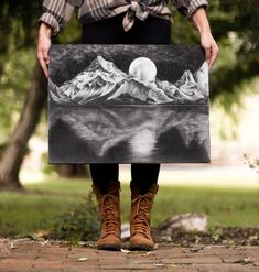 mountains at night drawing charcoal