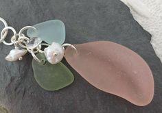 Pink Sea Glass Necklace Pearls Aqua Sterling Jewelry Genuine Beach Pendant Sea Glass Necklace, Sea Glass Jewelry, Pendant Jewelry, Pearl Necklace, Sterling Jewelry, Beautiful Necklaces, Swarovski Crystals, Aqua, Pearls