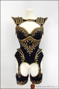 Royalblack The Guard couture corset outfit  black and gold with stars  steampunk burlesque