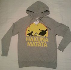 PRIMARK LADIES GREY THE LION KING HAKUNA MATATA JUMPER HOODIE SWEATER TOP