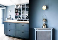 Paints & Palettes: A Nordic Kitchen in Copenhagen : Remodelista - Such a pretty blue color - Farrow and Ball's Cooks Blue