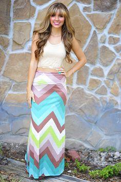 Can You Zig It Maxi Skirt: Aqua