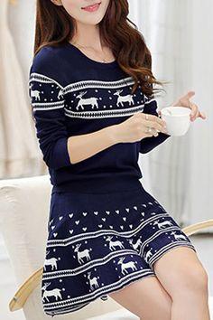 Colher pescoço elegante Elk Impresso pulôver camisola do Natal e mini-saia plissada Twinset Para Mulheres