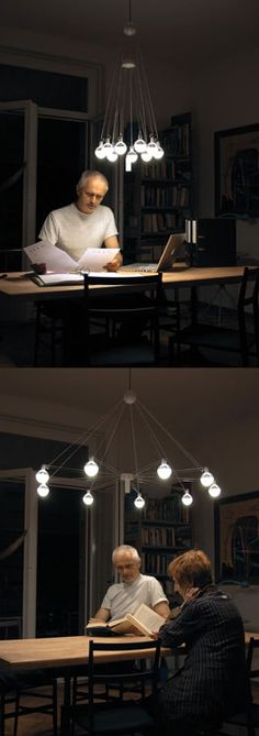 ❧ The Louis lampshade, by Matthias Decker from Fachhochschule Nordwestschweiz, is a flexible LED lighting system suited to home or office.
