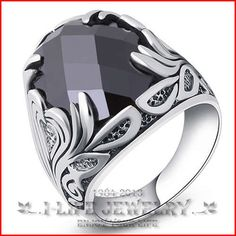 2014 mode 925 Sterling Silver eropa amerika Vintage yang hitam Onyx kawin untuk dia dengan batu untuk laki-laki