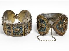 Africa   Pair of anklets ~ 'khalkhal'; Silver gilt with cloisonné, enamel and pastes. Algeria, ca 1838   The design of such anklets varied from city to city. The donor of this pair reported that these were made in El Golea, a town in central Algeria, but were acquired further north, in Ghardaïa.