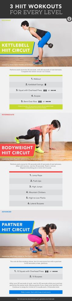 3 HIIT Workouts for Every Level — Never tried HIIT workouts before? No need to worry, we've got a super effective workout for every level. #workout #hiit #fitness #greatist