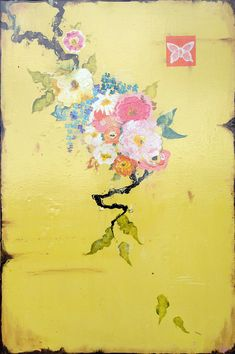 """Kathe Fraga Art, www.kathefraga.com Kathe's paintings are inspired by the romance of vintage French wallpapers and Chinoiserie with a modern twist. """"Vintage Goyard"""", 36x48 on frescoed birch panel."""