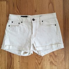 "Jcrew Denim Short Comfy, stretchy cotton in ecru wash. Low rise that sits just above the hips. 4"" inseam. J. Crew Shorts"