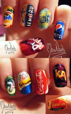 soda cans nail art