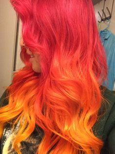 Red ombre hair. AKA FIRE HAIR!!! YEAAAA!!