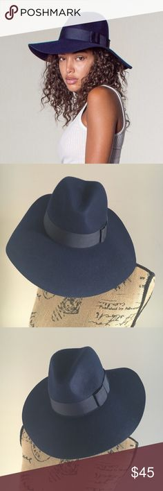 Brixton Piper Hat Wide floppy brim felt fedora with grosgrain band. The color is Navy. Brixton Accessories Hats