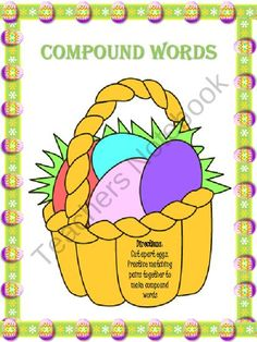 Easter Compound Words {{FREEBIE}}  Grade Level: PreK to 2nd, 3rd to 5th  Categories:  Reading, Guided Reading, Mini Lessons, Partner Reading Time, Private Reading Time, Skills and Strategies, Word Work, Literacy Centers